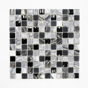 Mosaikmatte Quadrat Crystal/Stein mix grau/schwarz/silber matt