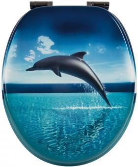 Sanitop WC-Sitz Dekor Dolphin Dream mit Soft-Schließ-Komfort und Fast Fix