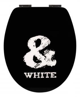 Sanitop High Gloss WC-Sitz Dekor Black Humor mit Softclose und Fast Fix