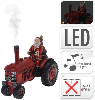Koopman Weihnachtsmann auf Traktor, ca. 28 cm