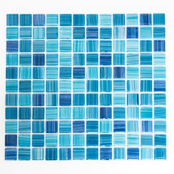Mosaikmatte Quadrat Crystal strichblau