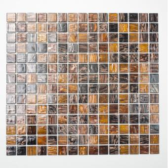 Mosaikmatte Quadrat mix Goldstar braun
