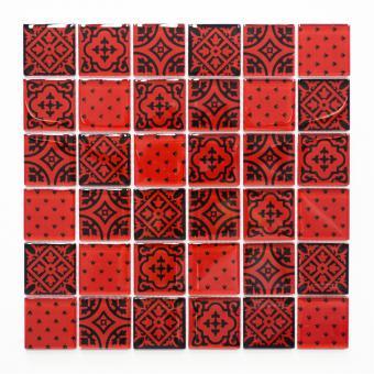 Mosaikmatte Quadrat Crystal Optik rot